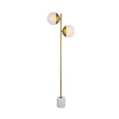 "Yearby 62.5"" Novelty Floor Lamp in Brass & Frosted White - AllModern"