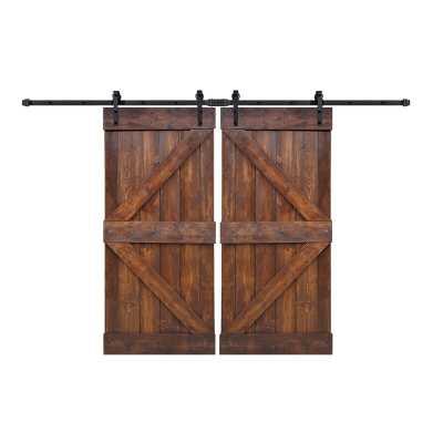 Paneled Wood Painted Barn Door with Installation Hardware Kit (Set of 2) - Wayfair