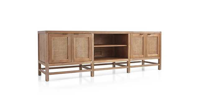 "Blake 85"" Grey Wash Teak Media Console - Crate and Barrel"