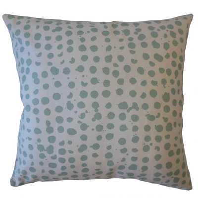 "Sadler Polka Dot Pillow Caribbean 20""x20"" - Down Insert - Linen & Seam"
