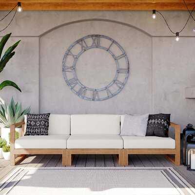 Kincaid Outdoor Patio Teak Wood 3-Piece Sectional Sofa Set In Natural White - Wayfair