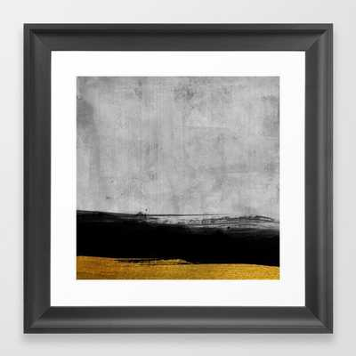 Black and Gold grunge stripes on modern grey concrete abstract backround I - Stripe - Striped Framed Art Print - Society6