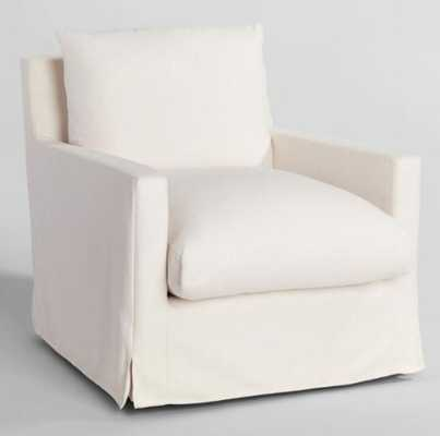Feather Filled Swivel Brynn Armchair in Ivory - World Market/Cost Plus