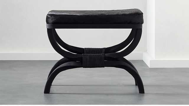 serpette black cowhide stool RESTOCK IN EARLY JUNE 2021 - CB2