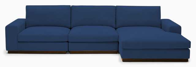 Blue Holt Mid Century Modern Modular Sectional - Key Largo Denim - Mocha - Left - Joybird