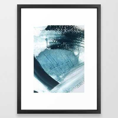 Pacific: a minimal abstract mixed media piece in blues and white Framed Art Print - 20x26 - framed BLACK - Society6
