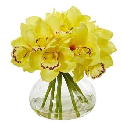 Artificial Cymbidium Orchids Floral Arrangement in Vase - Wayfair