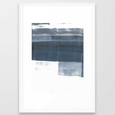 Blue and White Minimalist Abstract Landscape Framed Art Print - Society6