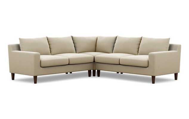 "Sloan Corner Sectional Sofa - Drift Sunbrella - Oiled Walnut Tapered Square Wood Leg - 97"" - Interior Define"