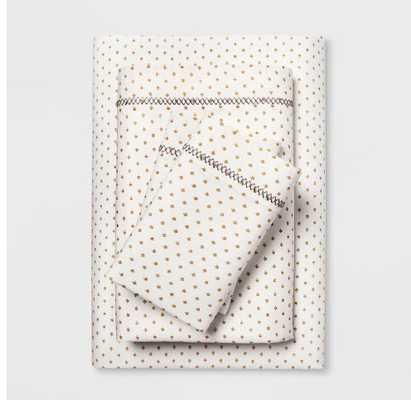 Cotton Percale Print Sheet Set (Full) Gold - Opalhouse - Target