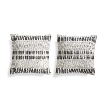 "Elma Black Stripe Pillows 20"", Set of 2 - Crate and Barrel"