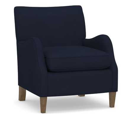 Ivy Upholstered Armchair, Polyester Wrapped Cushions, Performance Everydayvelvet(TM) Navy - Pottery Barn