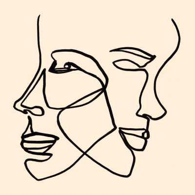 FACES 10, MINIMALIST LINE PORTAIT DRAWING - Artfully Walls
