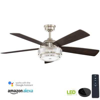 Caldwell 52 in. LED Brushed Nickel Ceiling Fan works with Google Assistant and Alexa - Home Depot