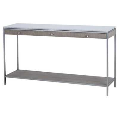 Maison 55 Paxton Classic Grey Oak Marble Top 3 Drawer Console Table - Kathy Kuo Home