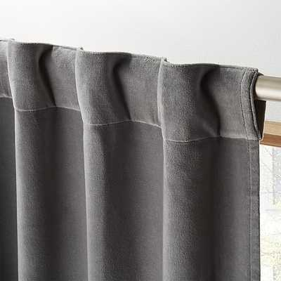 "velvet graphite curtain panel 48""x84"" - CB2"
