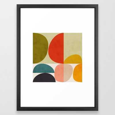 "Shapes of mid century geometry art Framed Art Print - 20"" x 26"" - Vector Black - Society6"