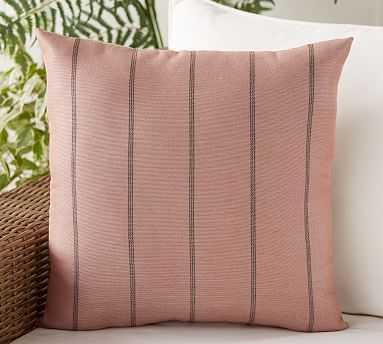 "Outdoor Sunbrella Ventana Stripe Pillow, 20"", Salmon - Pottery Barn"