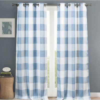 Rosenblum Plaid Blackout Thermal Grommet Curtain Panels (Set of 2) - Blue - Wayfair