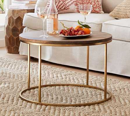 """Delaney Round Coffee Table, French Gray, 25""""L - Pottery Barn"""