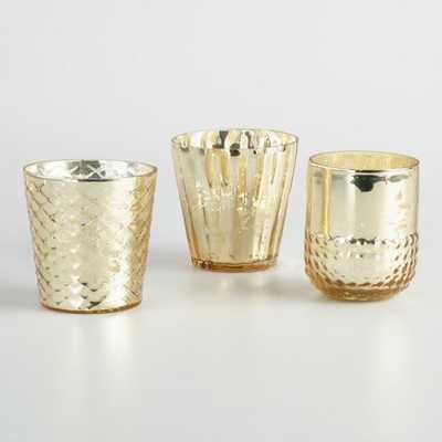 Gold Mercury Glass Votive Candleholders Set of 3 by World Market - World Market/Cost Plus