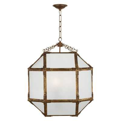 MORRIS MEDIUM LANTERN WITH FROSTED GLASS SHADE - GILDED IRON - McGee & Co.