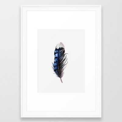 Blue Feather Framed Art Print - Society6