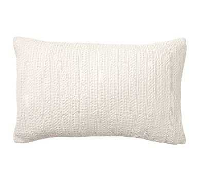 "Honeycomb Lumbar Pillow Cover, 16 x 26"", Ivory - Pottery Barn"