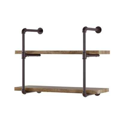 Klemm 2 Industrial Pipe Wall Shelf - Wayfair