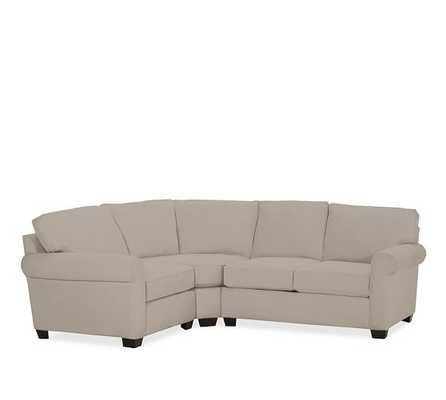 Buchanan Roll Arm Upholstered Curved 3-Piece Sectional With Wedge, Polyester Wrapped Cushions, Performance Twill, stone - Pottery Barn
