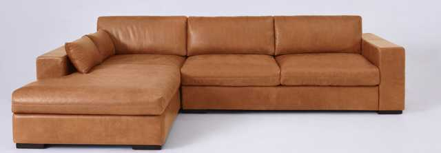 Aberdeen Leather Left Facing Long Arm Chaise Sectional - Paragon Leather I Solar Citrine - Sixpenny