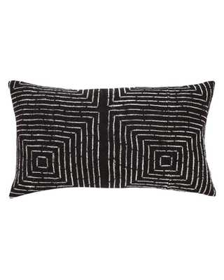 VANISHING SQUARES MUD CLOTH LUMBAR PILLOW IN BLACK MADE TO ORDER - PillowPia