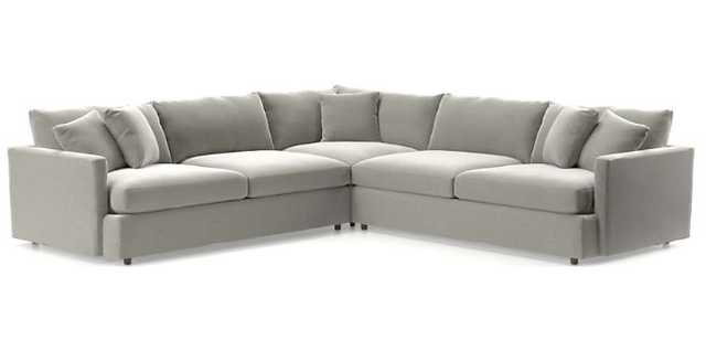 Lounge II 3-Piece Sectional Sofa - View, Grey - Crate and Barrel