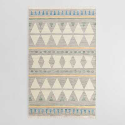 Blue Diamond Wool Kilim Lekan Area Rug: Gray - Cotton  - 8' x 10' by World Market 8Ftx10Ft - World Market/Cost Plus
