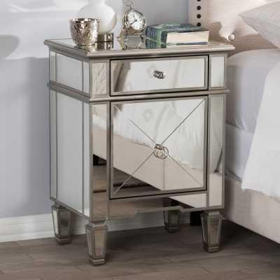 Beglin Hollywood Regency Glamour Style Mirrored 2 Drawer Nightstand - Wayfair