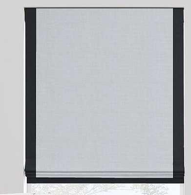 "Flat Roman Shades - white linen w/ black border, 26.5"" w x 61"" h, blackout lining, cordless, inside mount - The Shade Store"