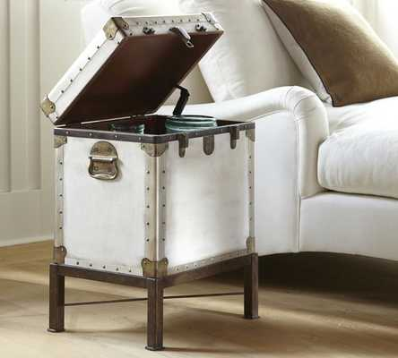Ludlow Trunk with Stand Side Table, White - Pottery Barn