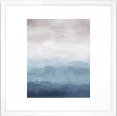 "White, Mauve, Navy Soft Blue Print Modern Wall Art, Printable Abstract Painting, Ocean Clouds Misty Framed Art Print 22"" X 22"" - Society6"