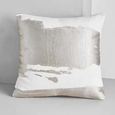 "Ink Mural Pillow Cover, Platinum, 20""x20"" - West Elm"