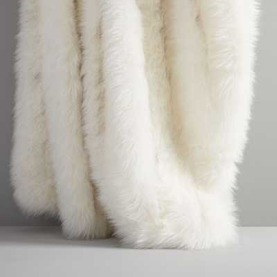 "Faux Fur Brushed Tips Throw, 47""x60"", Stone White - West Elm"