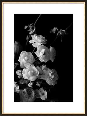 """Black and White Floral 20x28""""Black with Gold Wood, frame - Artfully Walls"""