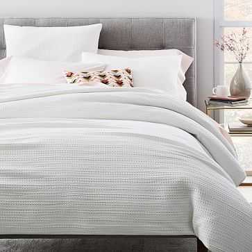 Organic Textured Waffle Duvet Cover, King/ Cal. King, White - West Elm