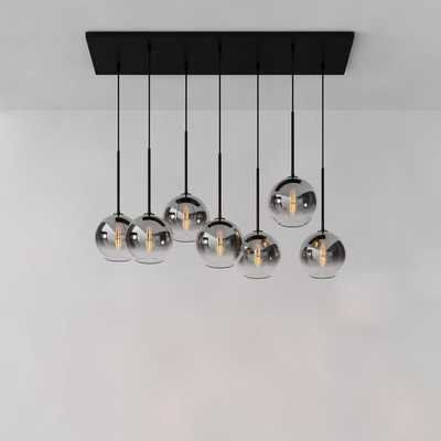 "Sculptural 7-Light Chandelier, Globe Small, Silver Ombre, Antique Bronze, 8"" - West Elm"