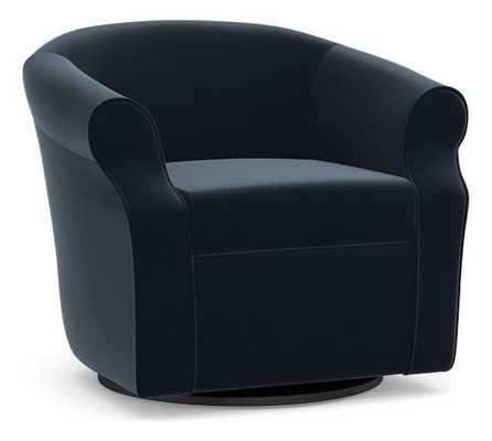 SoMa Lyndon Upholstered Swivel Armchair, Polyester Wrapped Cushions, Performance Plush Velvet Navy - Pottery Barn