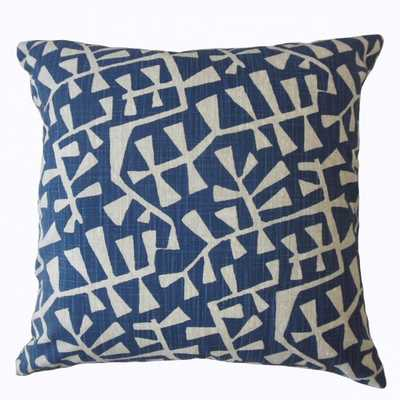 TAHIYA GEOMETRIC PILLOW NAVY,Pillow Cover Only - Linen & Seam