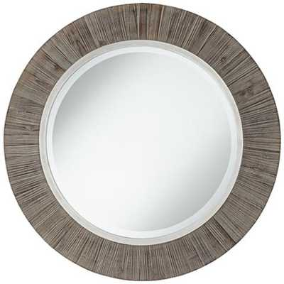 """Allie Gray and Antique Silver 34"""" Round Wall Mirror - Lamps Plus"""