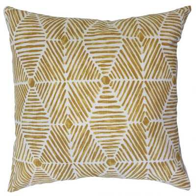 "IAKOVOS GEOMETRIC PILLOW GOLDEN ROD POLY INSERT 22"" - Linen & Seam"