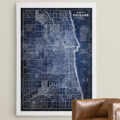 'Chicago Map Blue' Graphic Art Print on Wrapped Canvas - Wayfair