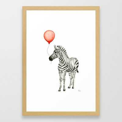 Baby Zebra with Red Balloon Framed Art Print - Society6