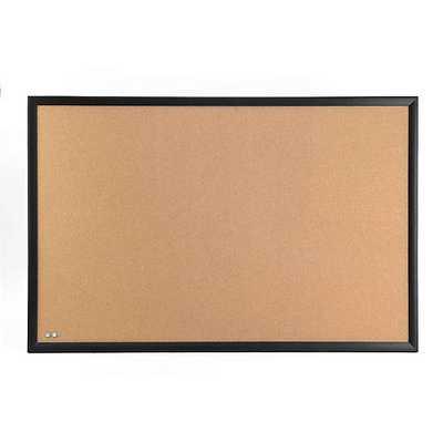 Medium Cork Board w/ Black Frame Natural - containerstore.com